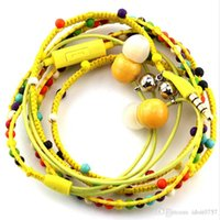 Wholesale Trendy Wrap Bracelets - Trendy Earphone100% Handmade Wraps Beads Bracelet with Magnet Closure in-ear Earphone with Mic Suitable for Iphone Android Headphone