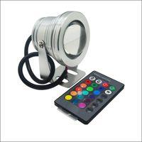 12v dc led luces de inundación al por mayor-Proyectores LED 10W RGB Luz subacuática LED Paisaje Luces LED IP68 carcasa de aluminio AC DC 12V