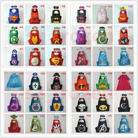 Wholesale Christmas Star Design - 72 Designs 70*70cm Double layer Cape with Mask kids Cosplay Superhero Capes and Mask for Kids Christmas Halloween Cosplay Prop Costumes