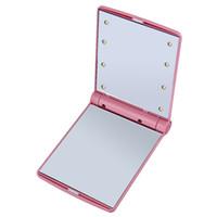 lampe pliée en métal achat en gros de-1 pc Lady Maquillage Pliant Cosmétique Portable Compact Poche Miroir 8 LED Lumières Lampes Vente Chaude Livraison Gratuite