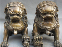 Wholesale Brass Dog Statue - Chinese China Folk Copper Door Fengshui Guardion Foo Fu Dog Lion Statue Pair
