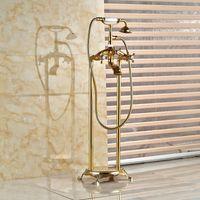 Wholesale Gold Faucet Bath - Bathroom Antique Floor Stand Faucet Telephone Gold-plated Type Bath Shower Mixer Brass Shower set Luxury Bathtub Tap