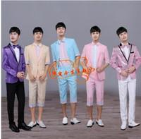 Wholesale Two Piece Dance Costumes - Blazer men formal dress singer dance designs suit men costume homme terno masculino two-piece multi-color suits for men fashion