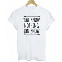 Wholesale Snow White Shirts - Women T-shirt You Know Nothing Jon Snow Printed T Shirt 2017 Summer Games of Thrones Women Fashion T Shirt Blusa