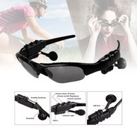 Wholesale bluetooth sunglasses online - Sunglasses Headset smart glasses Stereo Sports Wireless Bluetooth V4 Headphone Handsfree Earphones Music Player For Samsung