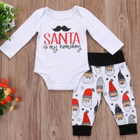 Wholesale Santa Claus Rompers - Christmas Boys Girls Baby Rompers Clothing Sets Xmas Long Sleeve Romper Onesie + Pants 2pcs Set Santa Claus Letters Toddler Clothes A7190