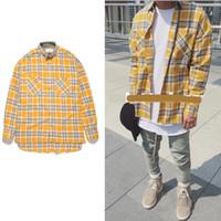 flanell s großhandel-2018 NEU Justin Bieber FOG Flanell Rot Gelb Schottland Grid Herren Hemden Hiphop Extended Curved Hem Oversized Casual Cotton Shirt