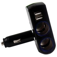Atacado - Car-styling White / Black Dual Sockets para Iphone Ipad Samsung Universal Car Cigarette Chargers With USB Port