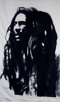 latón sur al por mayor-Bob Marley Bandera en blanco y negro Bandera de Jamaica Rasta Bandera de poliéster de 3 pies x 5 pies Vuelo 150 * 90 cm Personalizado al aire libre AF64