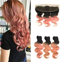 Wholesale Human Hair Roses - Ombre Pink Hair Weaves With Lace Frontal Closure Indian Human Hair Body Wave T1B Rose gold Ear to Ear 13x4 Frontal With Bundles