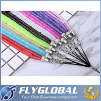 Wholesale Crystal Mobile Phone Charm - Colorful Bling Glitter Cell Phone Lanyard For Key Crystal Jewelry Mobile Phone Straps Neck Chain Universal Charms Long Hanging Badges