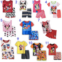 Wholesale Kids Cartoon Pajamas Sets Mickey Minnie Mouse Sleepwear Short Sleeves Summer Soft Cotton Boys Girls Home Clothing Leisure wear MD099