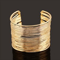 Wholesale Wristbands String - Wholesale-2016 New Hot Women Luxury Metal Multilayer Strings Wristband Bangle Cuff Jewelry Bracelet