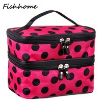 Wholesale Blue Cheap Laptops - Wholesale- Cheap price promotion cute dot high-capacity storage cosmetic bag women travel necessaries makeup organizer laptop handbags LW88