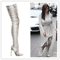 Wholesale Leather Heeled Thigh High Boots - Fashion python leather boots snakeskin pattern pointed toe womens thigh high boots over the knee high heeled boots women's shoes