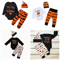 Wholesale Tshirt Pants Tops - halloween Cute Newborn Baby Boy Girl Pumpkin Romper Tops Tshirt Long Sleeve Pants Casual Hat Cap 3pcs Outfits Set Autumn