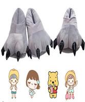 hausschuhe klauen groihandel-Hausschuhe Baumwolle Anime Plüsch Hausschuhe Soft Indoor Boden Schuhe Eltern Kinder Paare Cartoon Dinosaur Claws Schuhe