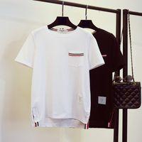 Wholesale Ladies Leisure Shorts - Wholesale- 2016 HIgh Quality Women Fashion Summer Striped T-shirt Lady O Neck Short Sleeve Loose Leisure T Shirt Black White MS462