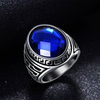 Wholesale Titanium Band Ring Blue - Titanium steel Steel Punk Rings With Big Opal Blue Love rings For Men Gift Factory Price