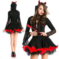 Billig Little Black Holloween Kleid Cosplay Kostüme mit langen Ärmeln Free Size Sheer High Neck Prom Party Kleider Abend Abnutzung