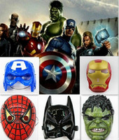 Wholesale Favorite Cartoons - The Avengers mask superhero mask Spiderman Hulk Captain America Batman Iron Man mask Theater Prop Novelty or Kids Favorite