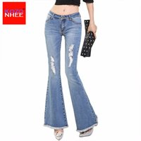 Wholesale Stretch Women Jeans Bell Bottom - Wholesale- KOZONHEE Tassel Hole Ripped Flare Jeans Women Long Bell-Bottoms Jeans Stretching For Girls Trousers For Women Jeans Large Size