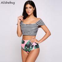 4247c87f66 Women swimsuit Off The Shoulder Beach Wear Striped Crop Top and Print High  Waist Brief 2 Piece Set Ladies Girls Cute Swimwear SVK031183