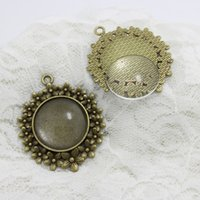 Wholesale Order Glass Flowers - Min Order 6 Sets Antique Bronze Plated Alloy Cameo Flower 42*50mm (Fit 25mm Dia) round Cabochon Settings +Clear Glass Cabochons A4103-1