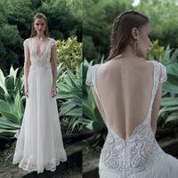 Lace Short Beach Wedding Dress for sale - Cheap Lace 2016 Wedding Dress Boho Deep V Neck Bridal Gowns Chiffon Backless Sexy Summer A Line Wedding Dresses