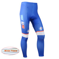 Wholesale Team Fdj - 2017 FDJ winter thermal fleece cycling long Pants and bib Long pants gel bike clothing team Bike ciclismo D1226