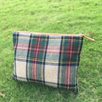 Wholesale Velour Material - Wholesale Blanks Plaid Tartan Portable Cosmetic Bag Wool Acrylic Soft Material Professional Cosmetic Case Makeup Bag With Zipper Closure