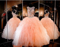 Wholesale Real Photo Peach Dresses - New Rhinestone Crystals Blush Peach Quinceanera Dresses Sexy Sheer Jewel Sweet 16 Ruffle Ruffles Skirt Princess Prom Ball Party Gowns