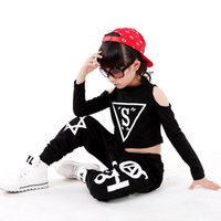 Wholesale Children Belly Dance Pants - Q228 Children Hip Hop Harem Pants Girls Jazz Dance Clothes Popping Dance Costume Set Personalized Top and Pants for Child