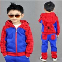 Wholesale Boys Spider Costume - New Spiderman Baby Boys Clothing Sets Cotton Sport Suit For Boys Clothes Spring Spider Man Cosplay Costumes KIds Clothes Set