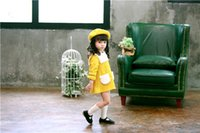 Wholesale Christmas Hairy - INS styles new Girl kids winter long sleeve round collar yellow cashmere dress winter warm hairy dress girl thick elegant dress