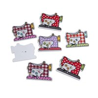 Wholesale projects sewing - Kimter Random Mixed Sewing Machine Style Wooden Buttons With 2 Holes 26x20mm For Children'S Clothing Crafts Art Project Pack Of 50pcs I527L