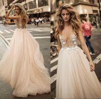 Wholesale wedding lace embellished resale online - 2019 Sheer Sexy Champagne Summer Wedding Dresses Backless Deep V neckline A line See through Sheer Embellished Bodice Bridal Gowns