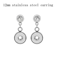 Wholesale Crystal Dangle Earrings Wholesale - Stainless Steel Crystal Rhinestone Noosa Chunks Ginger 12mm Snap Button Earrings For Women Friendly Jewelry Wholesale