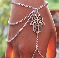 Wholesale Bracelet Slave - New Steet Style Bracelets Asymmetric Women Hamsa Fatima Bracelet Finger Ring Slave Chain Hand Harness Fashion Jewellery Chains Charm Bangle