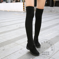 Wholesale Thick Elastic Fabric - Fold Shoes Woman Slim Over The Knee Boots Leather Stockings Street Fashion With Socks Stretch Fabric Knitted Elastic Thick Heel