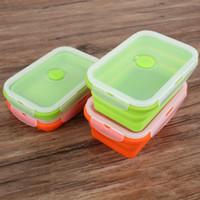 cajas de ensaladas al por mayor-Caja de almuerzo al aire libre Caja de fruta Ensalada de silicona de categoría alimenticia Cajas Resistencia de alta temperatura Telescópica retráctil duradera