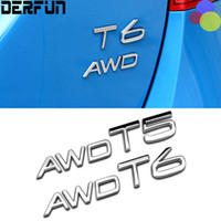 Wholesale Volvo Drives - VOLVO V60 S60 T5 T6 AWD All Wheel Drive Turbo Supercharging Silver Chrome Metal Refitting Trunk Emblem Badge Logo 3D Sticker