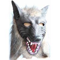 máscara de lobo animal venda por atacado-Assustador Lobo Cinza Máscaras Máscara De Látex Máscara De Látex Máscara de Dança Festa de Halloween Animal Holloween Cosplay Adereços