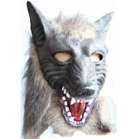 tier wolf maske großhandel-Gruselige graue Wolf Kopf Masken Latex Maske Tier Party Teufel Make-up Tanz Maske Holloween Cosplay Requisiten