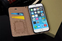 Wholesale Iphone Cases Luxury Logo - For Galaxy S8 plus Luxury Fashion Gold Logo Grid Leather Wallet case for iPhone 7 6 6s 6Plus GalaxyS7 S6 edge Flip Cover