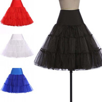 Wholesale Wholesale Wedding Petticoat Skirts - 50pcs 2017 Women's Fashion Wedding Dress Crinoline Underskirt Tutu Bubble Skirt Bustle Petticoat Black White Blue Pink Yellow ZL3025