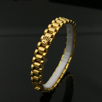 Wholesale Gold Plated Crown Charms - Watch Chain Crown Bracelets Bangles For Men 316L Stainless Steel Rose Gold Plated Luxury Designer Fashion Jewelry