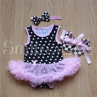 Wholesale Clothes Kids Ch - Christmas Girl Dress Baby Suit Children Clothes Kids Clothing Girls Headbands Summer Lace Rompers Baby Shoes Children Set Kids CH-8821
