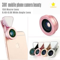 Wholesale Wide Angle Packaging - LQ-035 3 in 1 Clip-on Glass Camera Lens HD 0.4X-0.6X Wide-angle Lens 15X Macro-lens with Rechargeable Flashlight with Retail Package
