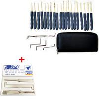 Wholesale Tubular Keys Locksmith - 5PCS Credit Card Lock Picks + 24pcs Hook GOSO Door Lock Pick Set Door Key Pick Set Locksmith TOOLS With Leather Bag